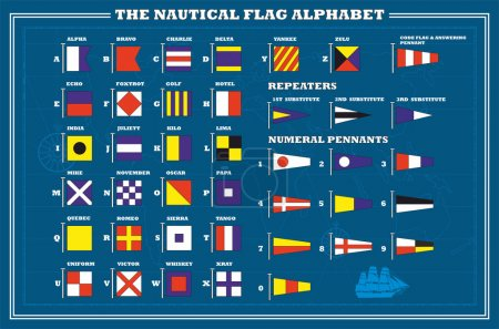 International maritime signal flags - sea alphabet , vector illu