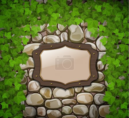 Stone wall with wooden shield and leaves