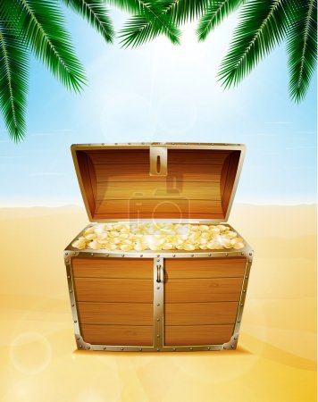 Treasure chest on a tropical beach with palm trees