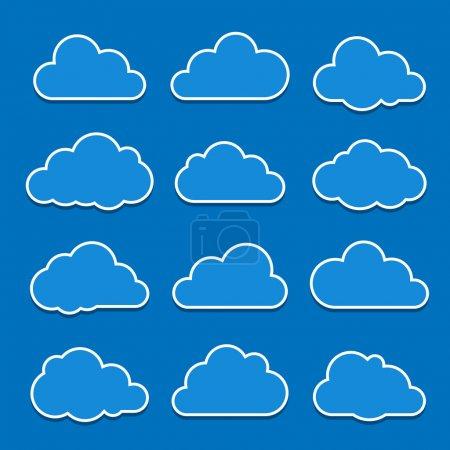 Illustration pour Collection d'icônes de nuage. illustration vectorielle - image libre de droit