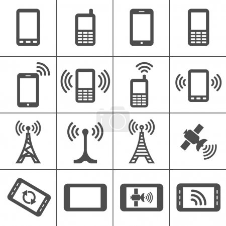 Illustration for Simplus icons series. Mobile devices and wireless technology - Royalty Free Image