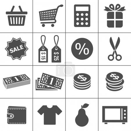 Photo for Shopping Icons. Each icon is a single object (compound path) - Royalty Free Image