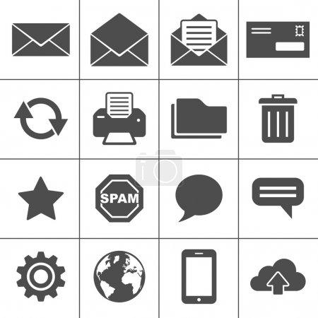 Illustration pour Email Icônes. Chaque icône est un objet unique (chemin composé ) - image libre de droit