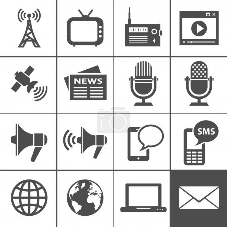 Illustration for Media Icons. Each icon is a single object (compound path) - Royalty Free Image