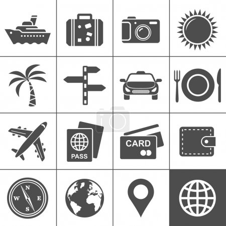 Illustration for Travel and tourism icon set. Simplus series. Each icon is a single object (compound path) - Royalty Free Image