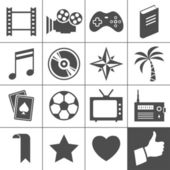 Entertainment icon set Simplus series Each icon is a single object (compound path)