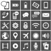25 Vector Icons for mobile applications Mobile Interface Icon Set Simplus series Each icon is a single object (compound path)