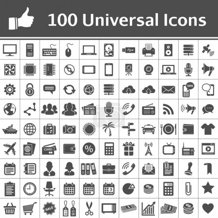 Illustration for 100 Universal Icons. Simplus series. Each icon is a single object - Royalty Free Image