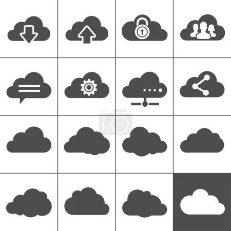 Illustration pour Cloud computing icônes. collection de signes de nuages. chaque icône est un objet unique (chemin composé) - image libre de droit