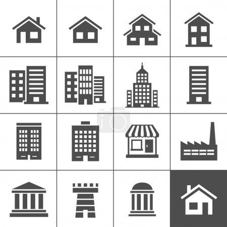 Illustration for Building Icons Set. Vector illustration. Simplus series - Royalty Free Image