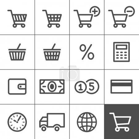 Illustration pour Ensemble d'icônes shopping. Simplines série. Illustration vectorielle - image libre de droit
