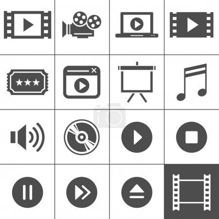 Illustration pour Ensemble d'icônes vidéo et cinéma. Série Simplus. Chaque icône est un objet unique - image libre de droit