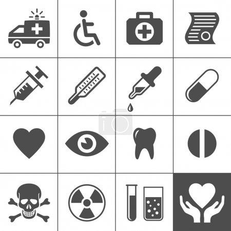 Illustration pour Ensemble d'icônes médicales et santé. Série Simplus. Illustration vectorielle - image libre de droit