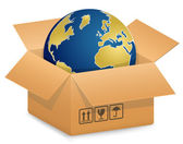 Vector illustration of Globe in Cardboard box International Shipping Concept