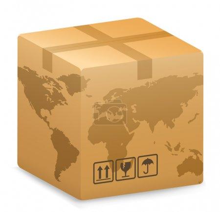 Ilustración de Vector de ilustración de la caja de envío con mapamundi globo. concepto de envío internacional. - Imagen libre de derechos