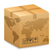 Vector illustration of Shipping Box with World Globe Map International Shipping Concept