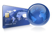 Internet Banking Credit card with world map and Globe Payment concept