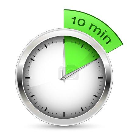 10 minutes. Timer vector illustration.