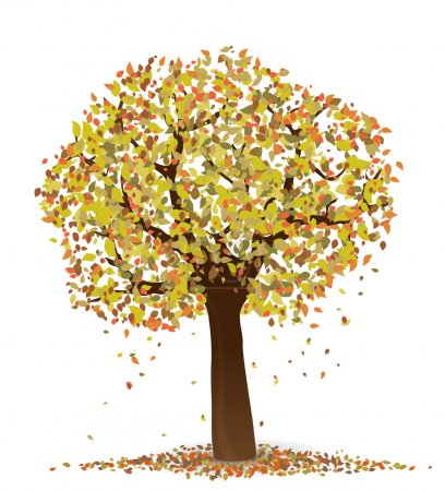 Autumn. Vector illustration of tree with yellow an...