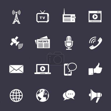 Illustration pour Icônes des médias. vecteur propre icônes sur fond noir - image libre de droit