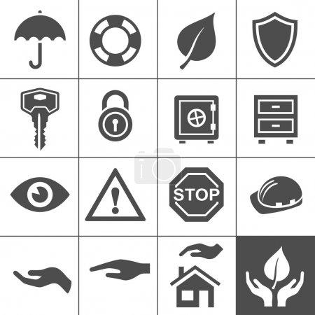 Illustration pour Icônes de protection. SIMPLUS série. illustration vectorielle - image libre de droit