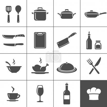 Illustration pour Restaurant de cuisine et cuisson des icônes. SIMPLUS série. Illustration vectorielle - image libre de droit