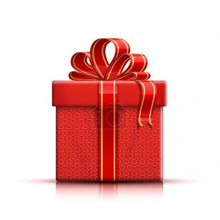 Illustration pour Valentine boîte cadeau rouge avec des formes de coeur, ruban et arc. Illustration vectorielle - image libre de droit