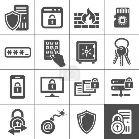Illustration pour Icônes de sécurité informatique. Série Simplus. Icônes vectorielles de sécurité informatique - image libre de droit