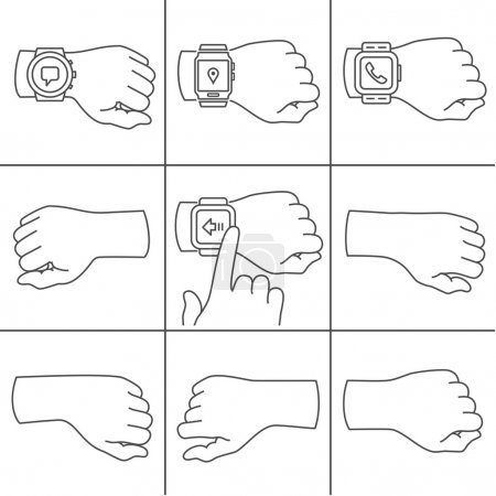 Hands with smartwatch icons