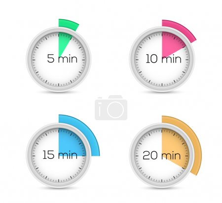 Illustration for Set of timers - five, ten, fifteen and twenty minutes - Royalty Free Image