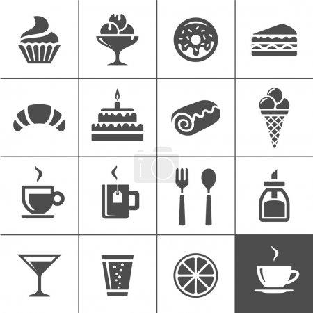 Illustration pour Ensemble d'icônes Café et confiserie. Produits de boulangerie sucrés, desserts et café. Icônes vectorielles série Simplus - image libre de droit