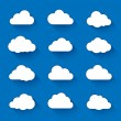 Cloud icons with long shadow. Vector illustration ...