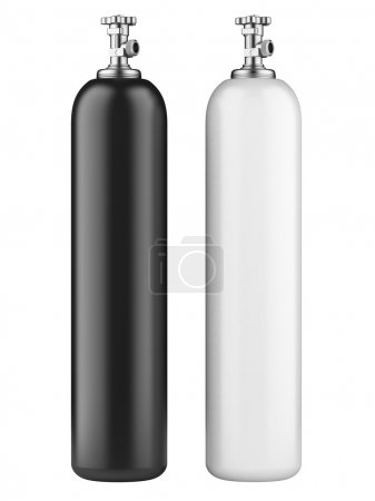 Photo pour White and black propane cylinders with compressed gas isolated on a white background - image libre de droit