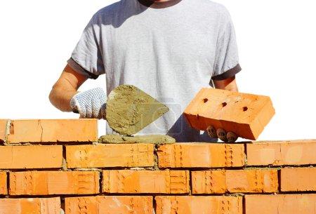 Photo pour Maçonnerie maçonnerie briques pour faire un mur - image libre de droit