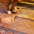 Construction worker thermally insulating house att...