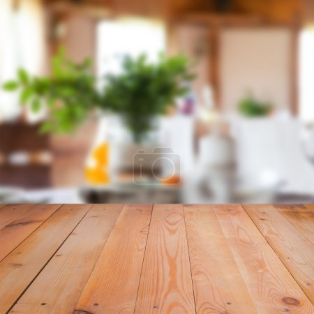 Photo for Blurred interior of room with wooden surface - Royalty Free Image