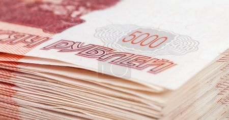 Pile of five thousands russian rubles bills closeup