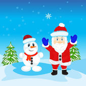 Illustration festive santa and snow person