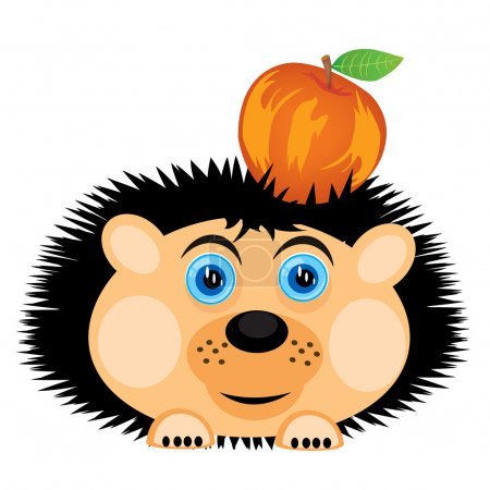 Illustration for Vector illustration of the hedgehog carrying apple - Royalty Free Image