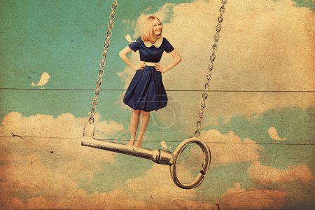Photo pour Collage d'art avec belle femme sur la clé, vintage - image libre de droit