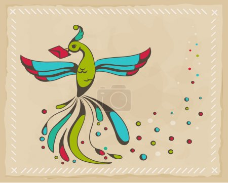 Fabulous bird holding an envelope.