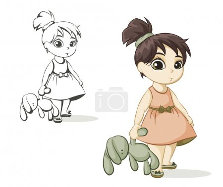 Illustration for Little girl with brown hair holding a toy bunny - Royalty Free Image