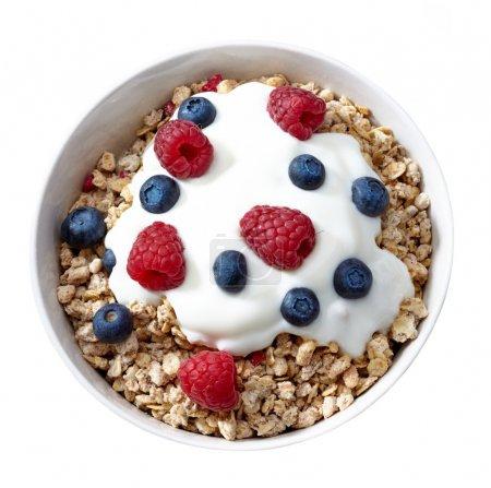 Photo for Bowl of muesli and yogurt with fresh berries - Royalty Free Image