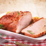 Pork loin on white plate...