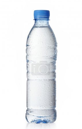 Photo for Wet plastic water bottle on a white background - Royalty Free Image