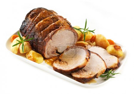 Photo for Roasted pork on white plate - Royalty Free Image