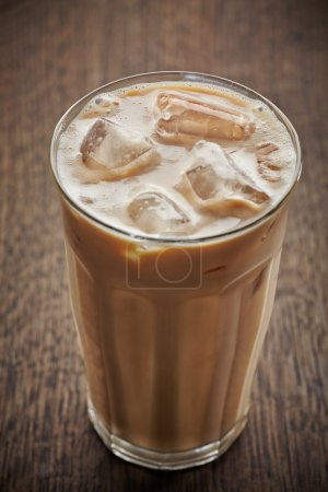 Photo for Glass of iced coffee with milk - Royalty Free Image