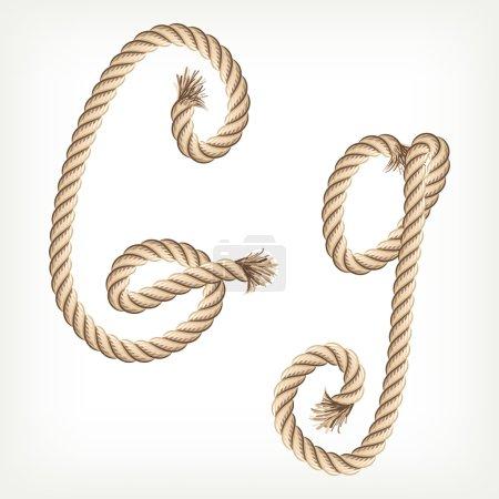 Rope alphabet. Letter G