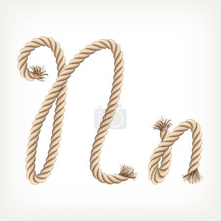 Rope alphabet. Letter N