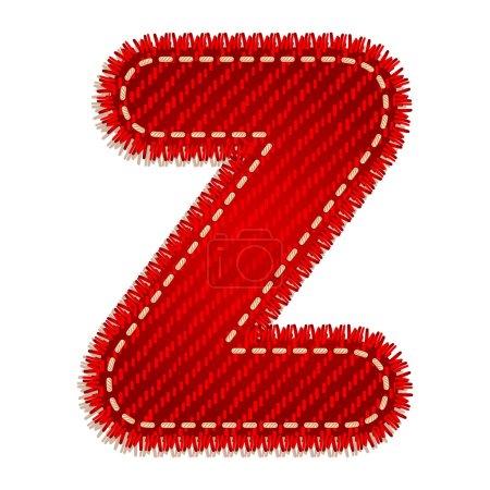 Red textile alphabet